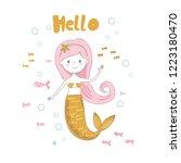 cute mermaid waving a greeting. ... | Shutterstock .eps vector #1223180470
