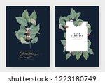 botanical typographic christmas ... | Shutterstock .eps vector #1223180749