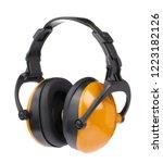 yellow industrial headphone...   Shutterstock . vector #1223182126