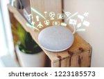 smart home assistant device ...   Shutterstock . vector #1223185573