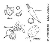 hand drawn vegetables icons set ... | Shutterstock .eps vector #1223200330