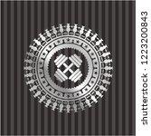 dumbbell icon inside silvery...   Shutterstock .eps vector #1223200843