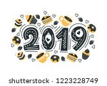 2019. hand drawn lettering... | Shutterstock .eps vector #1223228749