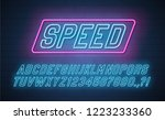 speed neon italic alphabet.... | Shutterstock .eps vector #1223233360
