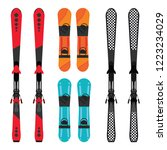 set of snowboard and skis...   Shutterstock .eps vector #1223234029