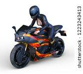 3d cg rendering of motorbike   Shutterstock . vector #1223243413
