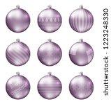 pastel pink christmas balls... | Shutterstock .eps vector #1223248330