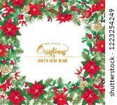 christmas wreath of spruce ... | Shutterstock .eps vector #1223254249