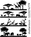 Stock vector silhouettes of african animals savannah animals giraffe hyena elephant bulls vultures 1223276779