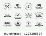set of vintage camping outdoor... | Shutterstock .eps vector #1223288539