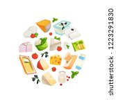 vector cartoon dairy and cheese ...   Shutterstock .eps vector #1223291830