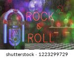 jukebox in bar with neon signs  ... | Shutterstock . vector #1223299729