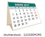 2019 january month in a desk... | Shutterstock .eps vector #1223309290