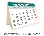 2019 february month in a desk... | Shutterstock .eps vector #1223309296
