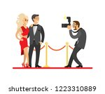 paparazzi taking photo of... | Shutterstock .eps vector #1223310889