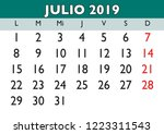 july month in a year 2019 wall... | Shutterstock .eps vector #1223311543