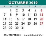 october month in a year 2019... | Shutterstock .eps vector #1223311990