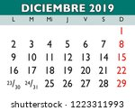 december month in a year 2019... | Shutterstock .eps vector #1223311993
