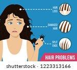 hair care. common hair problems ...   Shutterstock .eps vector #1223313166