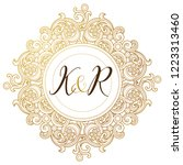 vector golden element  monogram ... | Shutterstock .eps vector #1223313460