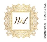 vector golden element  monogram ... | Shutterstock .eps vector #1223313466