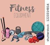 set of fitness accessories ...   Shutterstock .eps vector #1223314816