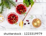 cranberry coctail with mint ... | Shutterstock . vector #1223319979