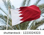 waving bahrain flag with palm... | Shutterstock . vector #1223324323