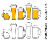 glasses of beer with wreath of... | Shutterstock . vector #1223324476