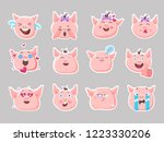 little pink pigs.vector set of... | Shutterstock .eps vector #1223330206