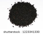 black cumin seeds.top view.... | Shutterstock . vector #1223341330