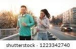 friends fitness training... | Shutterstock . vector #1223342740