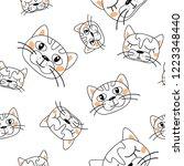 vector cat white heads rose... | Shutterstock .eps vector #1223348440