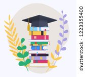 education infographic with pile ... | Shutterstock .eps vector #1223355400