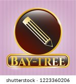 gold shiny emblem with pencil... | Shutterstock .eps vector #1223360206