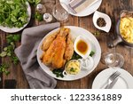 roasted chicken with mashed...   Shutterstock . vector #1223361889