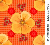 decorative cosmos flowers... | Shutterstock .eps vector #1223367919