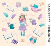 the girl the schoolgirl with... | Shutterstock .eps vector #1223370919