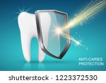 healthy tooth and glass shield... | Shutterstock .eps vector #1223372530