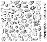 hand drawn big set of food.... | Shutterstock .eps vector #1223383573