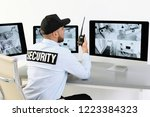 male security guard with... | Shutterstock . vector #1223384323