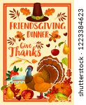 thanksgiving holiday turkey and ... | Shutterstock .eps vector #1223384623