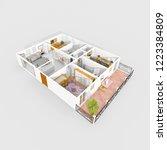 3d interior rendering of... | Shutterstock . vector #1223384809