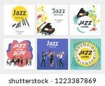 jazz poster background. vector... | Shutterstock .eps vector #1223387869