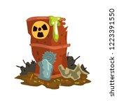 rusty flowing barrel of nuclear ... | Shutterstock .eps vector #1223391550