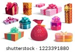 present boxes set of round ... | Shutterstock .eps vector #1223391880