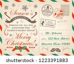 merry christmas postcard or... | Shutterstock .eps vector #1223391883