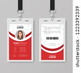elegant red and white id card... | Shutterstock .eps vector #1223392339