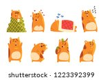 Stock vector cute cartoon hamster characters set funny animal showing various actions and emotions vector 1223392399