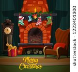 christmas fireplace in room... | Shutterstock .eps vector #1223401300